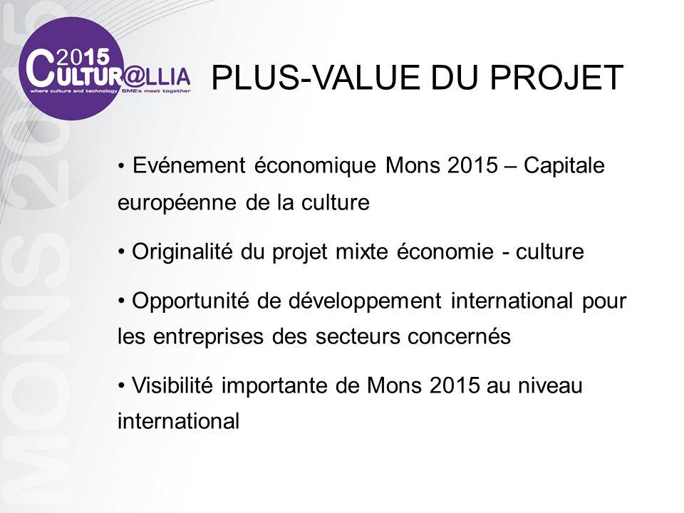 PLUS-VALUE DU PROJET Evénement économique Mons 2015 – Capitale européenne de la culture. Originalité du projet mixte économie - culture.