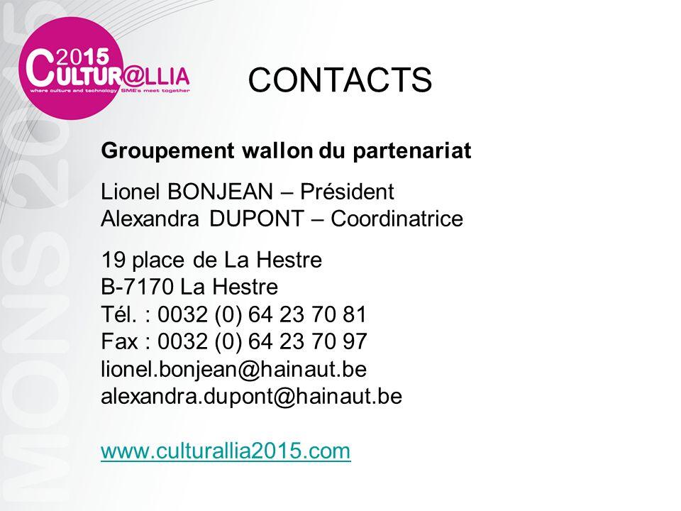 CONTACTS Groupement wallon du partenariat Lionel BONJEAN – Président