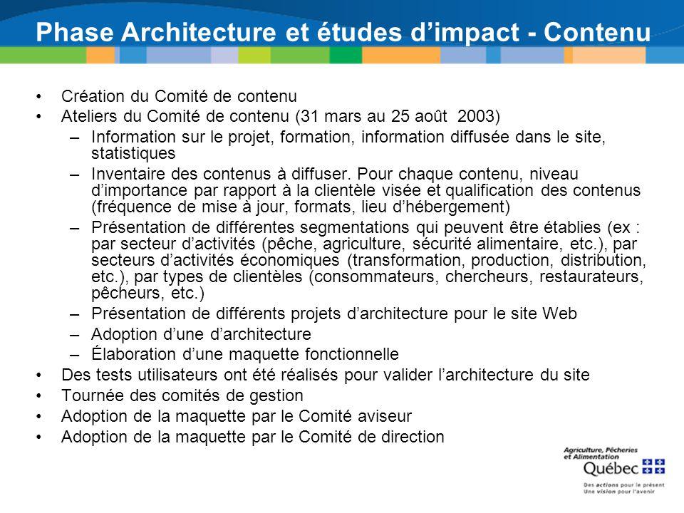 Phase Architecture et études d'impact - Contenu