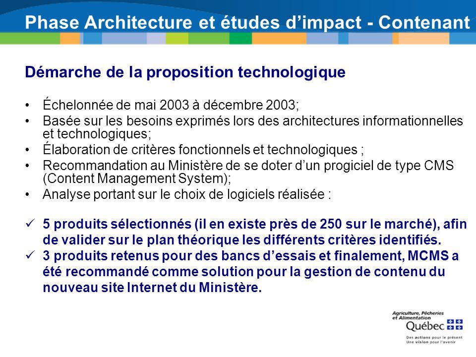 Phase Architecture et études d'impact - Contenant