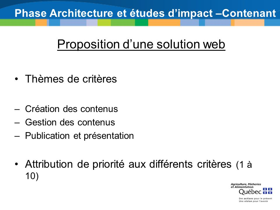 Phase Architecture et études d'impact –Contenant