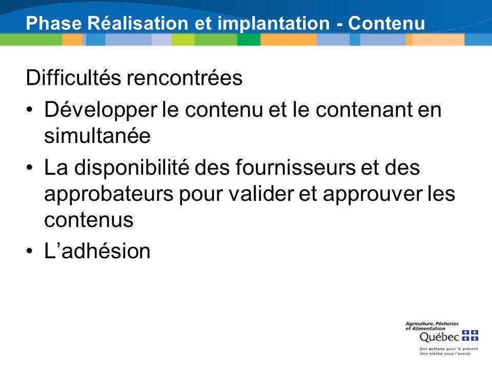 Phase Réalisation et implantation - Contenu