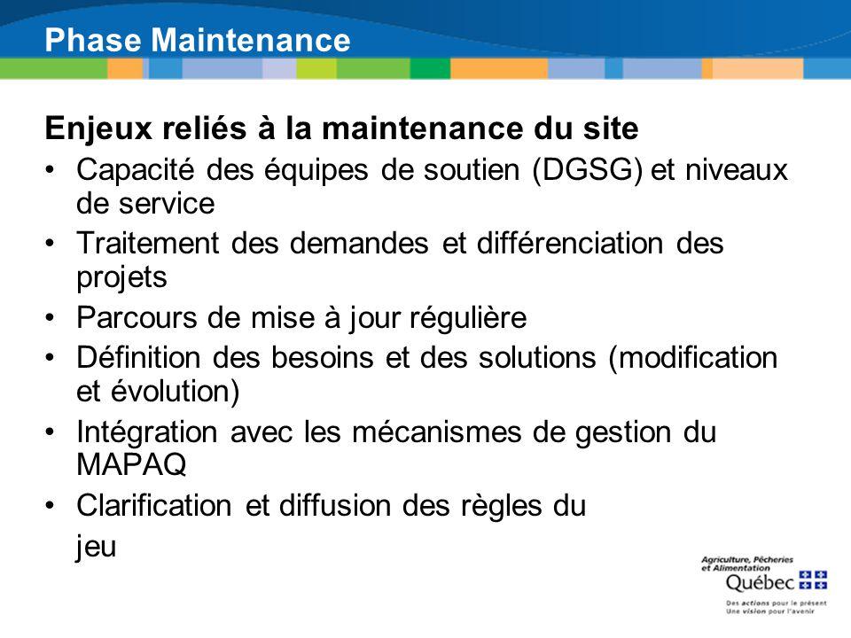 Enjeux reliés à la maintenance du site