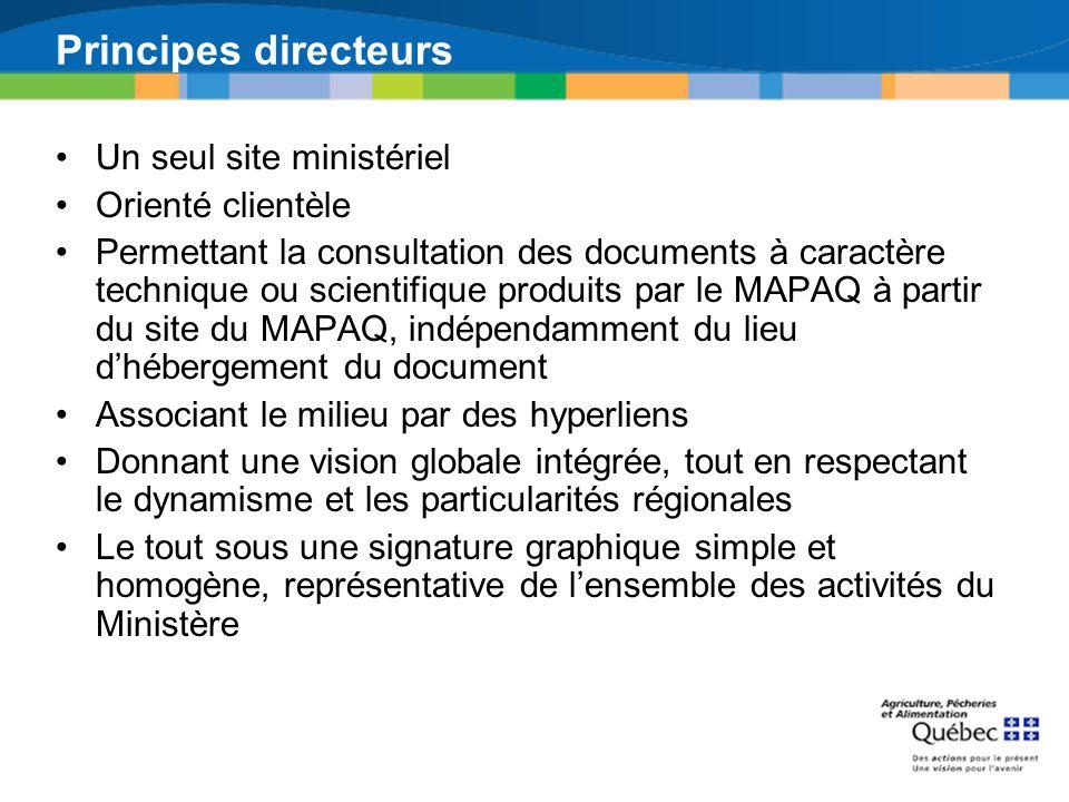 Principes directeurs Un seul site ministériel Orienté clientèle