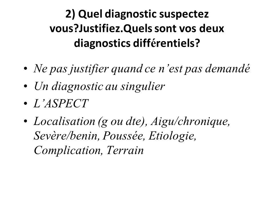 2) Quel diagnostic suspectez vous. Justifiez