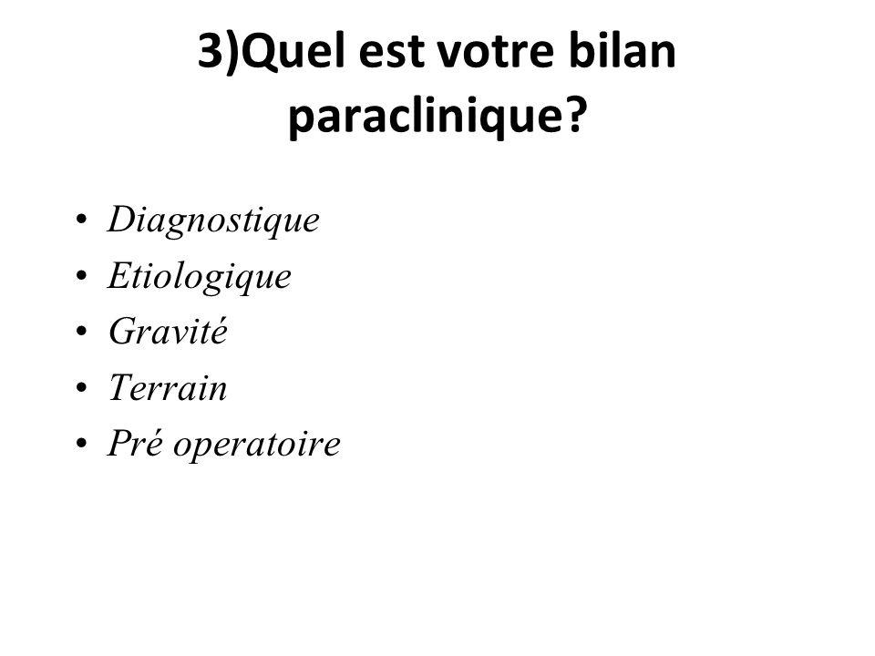 3)Quel est votre bilan paraclinique