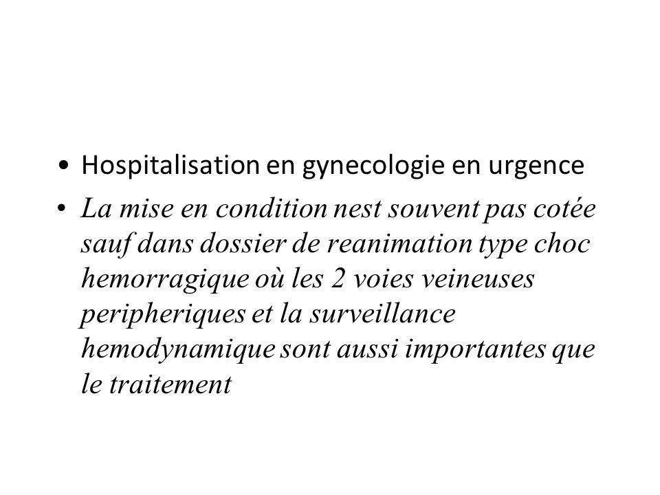 Hospitalisation en gynecologie en urgence