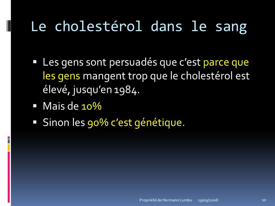 Le cholestérol dans le sang