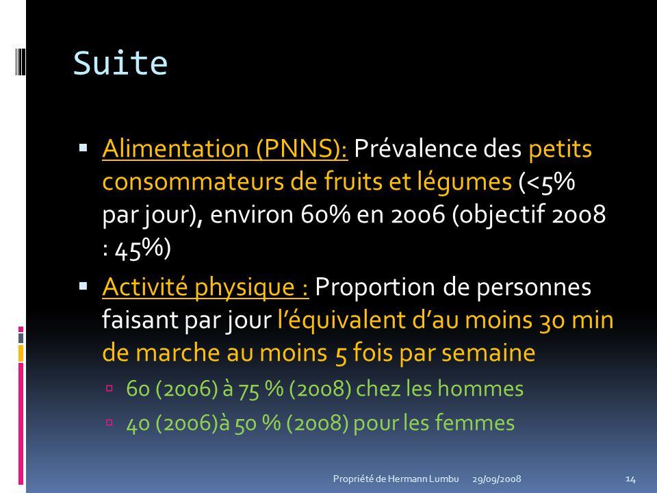 Suite Alimentation (PNNS): Prévalence des petits consommateurs de fruits et légumes (<5% par jour), environ 60% en 2006 (objectif 2008 : 45%)