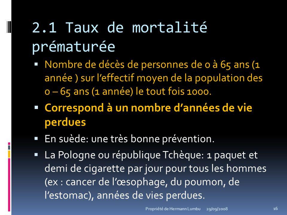2.1 Taux de mortalité prématurée