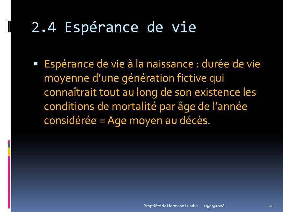 2.4 Espérance de vie