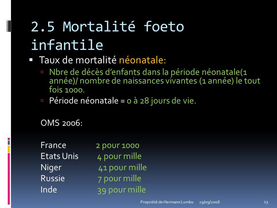 2.5 Mortalité foeto infantile