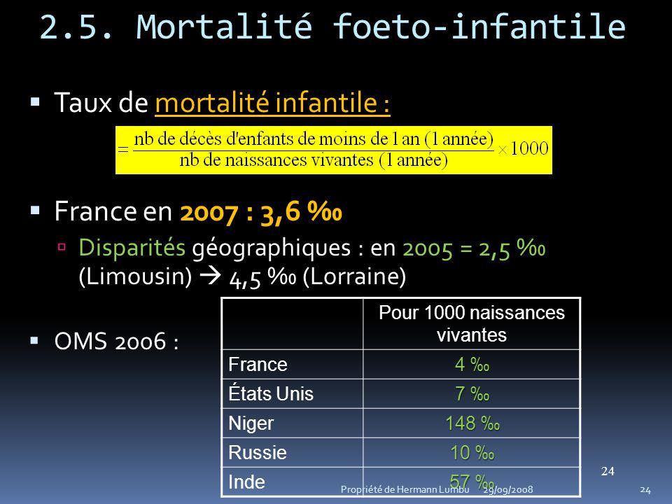 2.5. Mortalité foeto-infantile