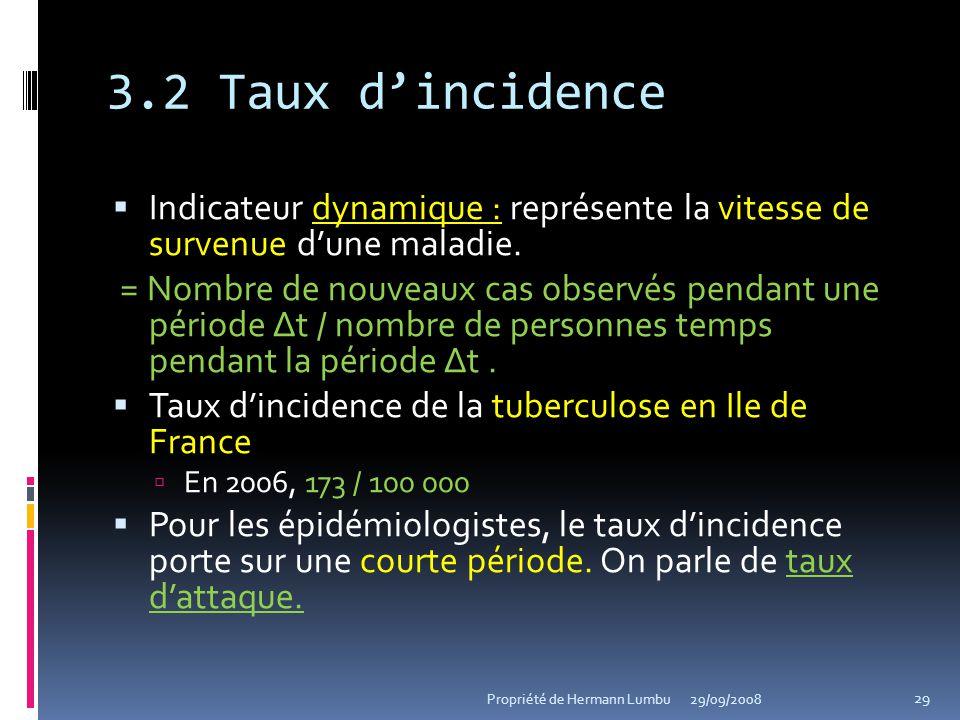3.2 Taux d'incidence Indicateur dynamique : représente la vitesse de survenue d'une maladie.