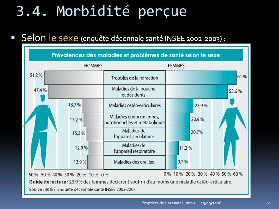 3.4. Morbidité perçue Selon le sexe (enquête décennale santé INSEE 2002-2003) : Propriété de Hermann Lumbu.
