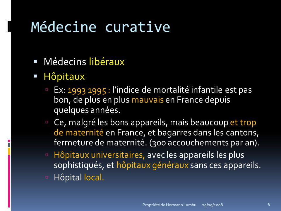 Médecine curative Médecins libéraux Hôpitaux