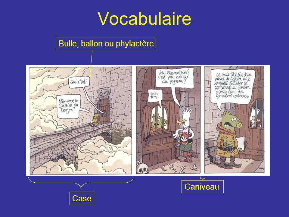 Vocabulaire Bulle, ballon ou phylactère Case Caniveau