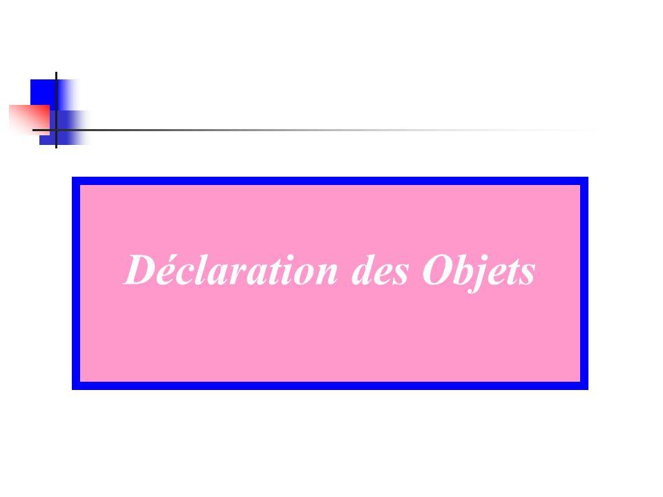 Déclaration des Objets