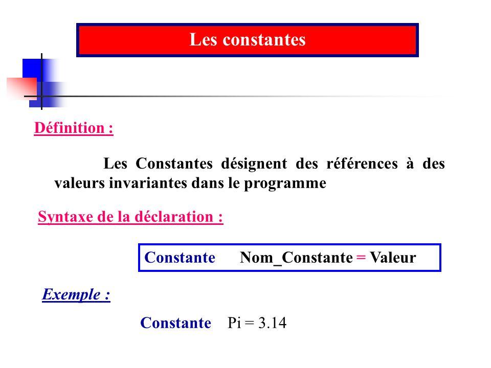 Les constantes Définition :