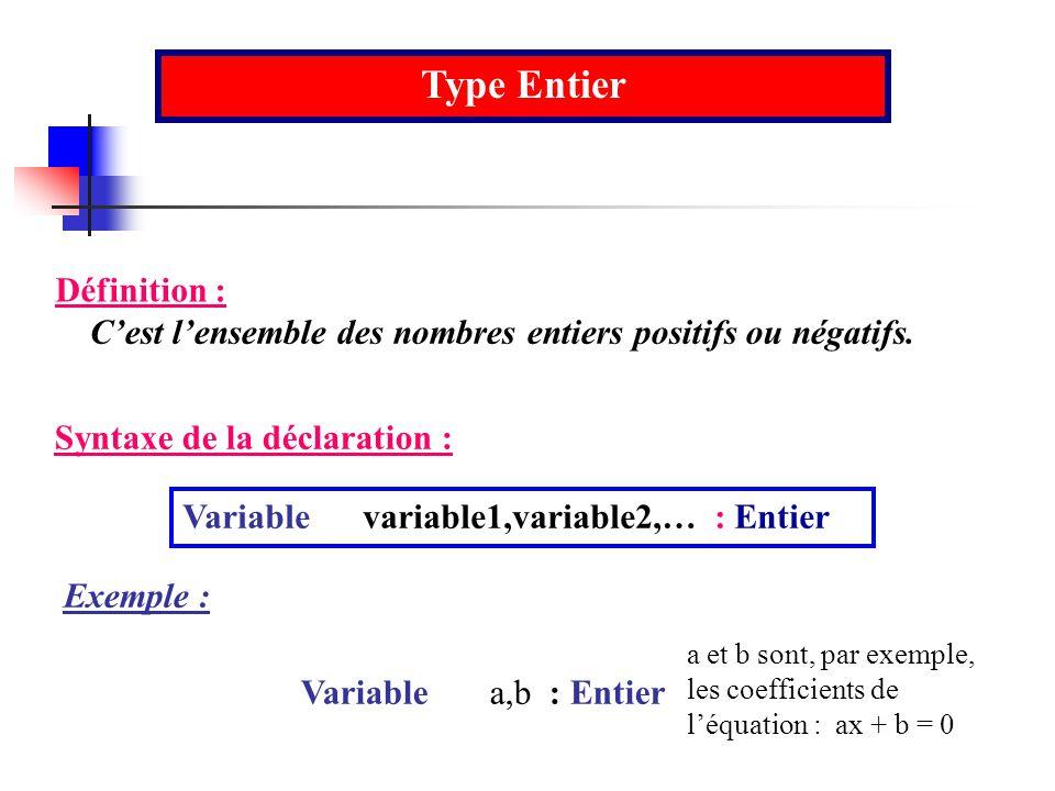 Type Entier Définition :