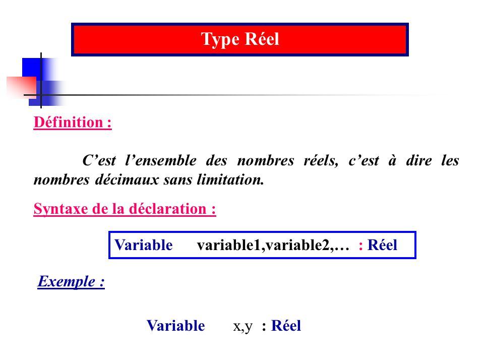 Type Réel Définition : C'est l'ensemble des nombres réels, c'est à dire les nombres décimaux sans limitation.