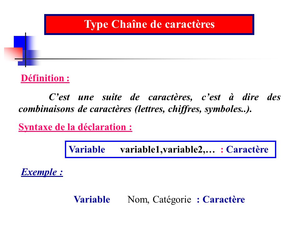 Type Chaîne de caractères