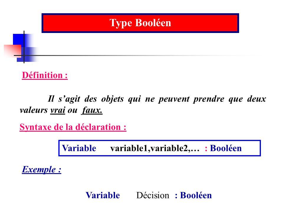 Type Booléen Définition :