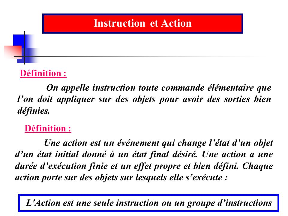 L Action est une seule instruction ou un groupe d'instructions