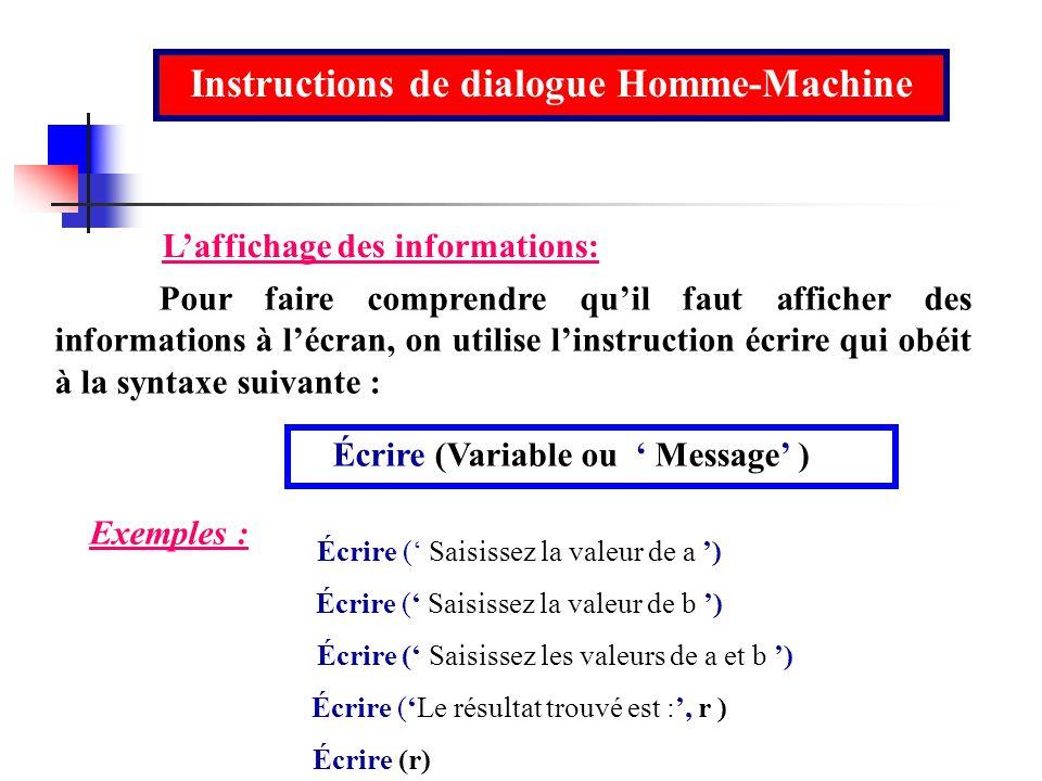 Instructions de dialogue Homme-Machine