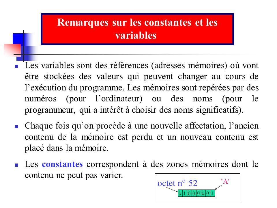 Remarques sur les constantes et les variables