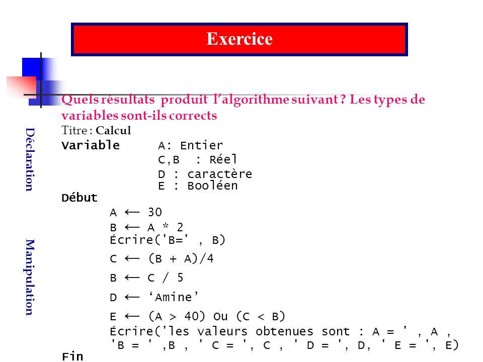 Exercice Quels résultats produit l'algorithme suivant Les types de variables sont-ils corrects.