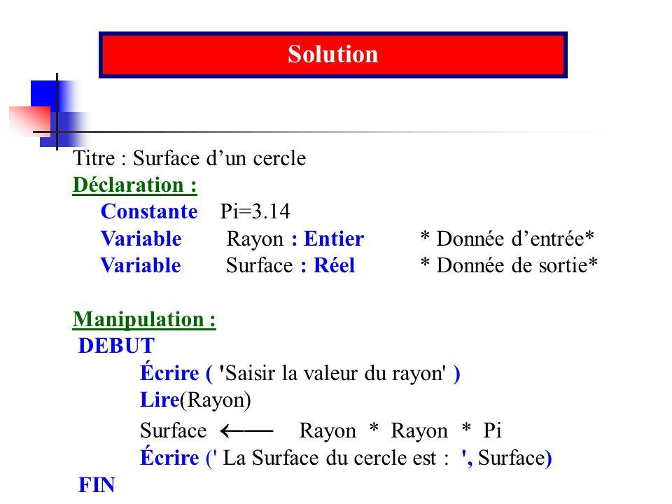 Solution Titre : Surface d'un cercle Déclaration : Constante Pi=3.14