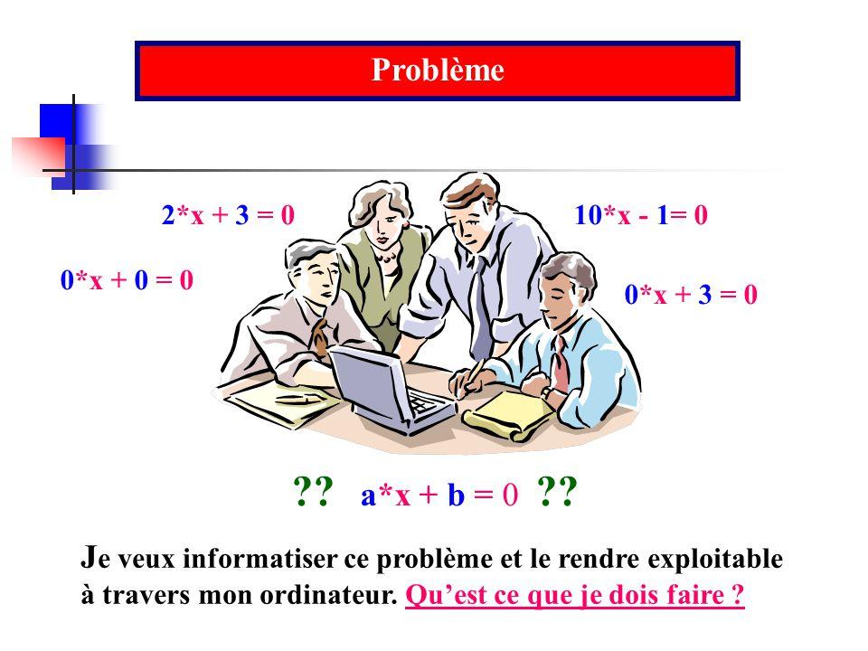 Problème 2*x + 3 = 0. 0*x + 3 = 0. 0*x + 0 = 0. 10*x - 1= 0. a*x + b = 0