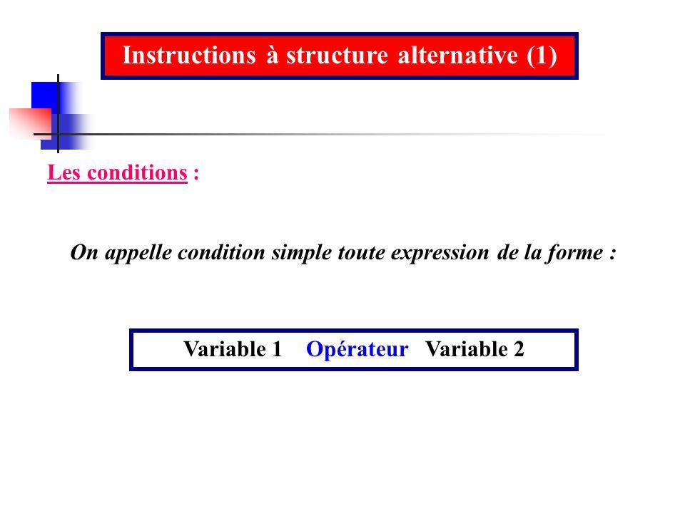 Instructions à structure alternative (1)