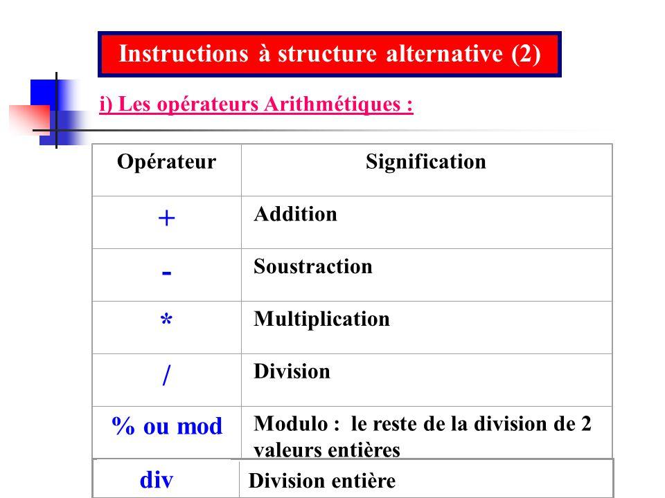Instructions à structure alternative (2)