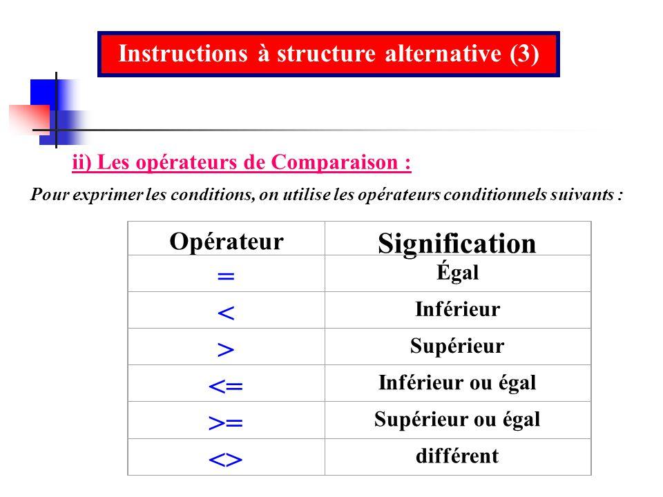 Instructions à structure alternative (3)
