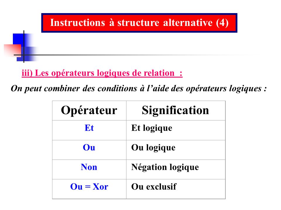 Instructions à structure alternative (4)