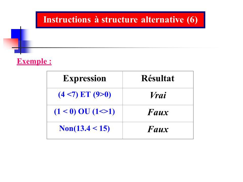 Instructions à structure alternative (6)