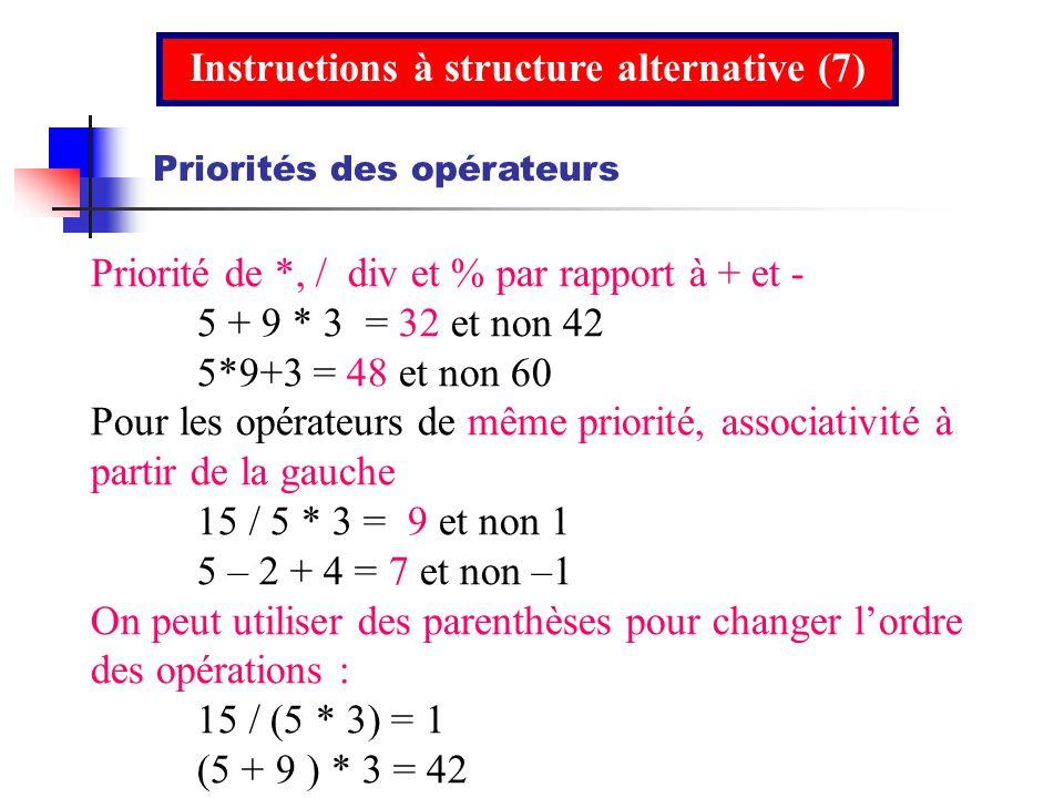 Instructions à structure alternative (7)