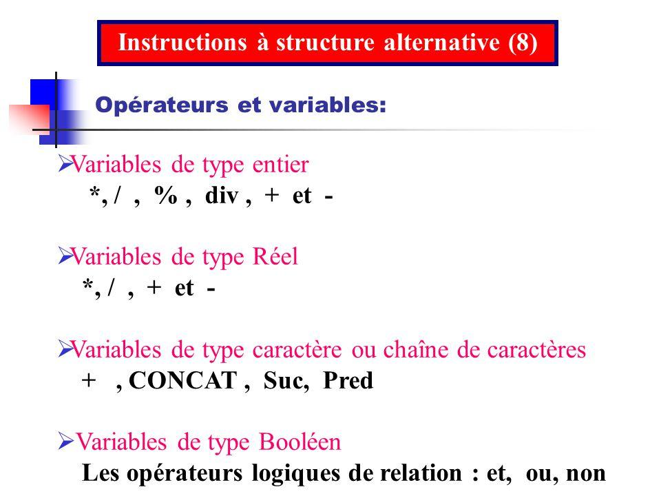 Instructions à structure alternative (8)