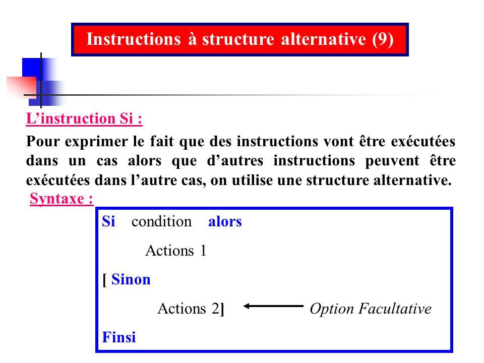 Instructions à structure alternative (9)