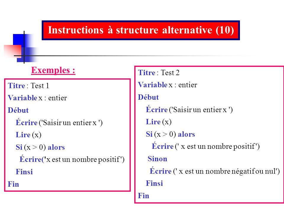 Instructions à structure alternative (10)