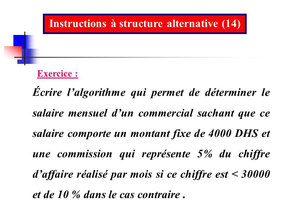 Instructions à structure alternative (14)