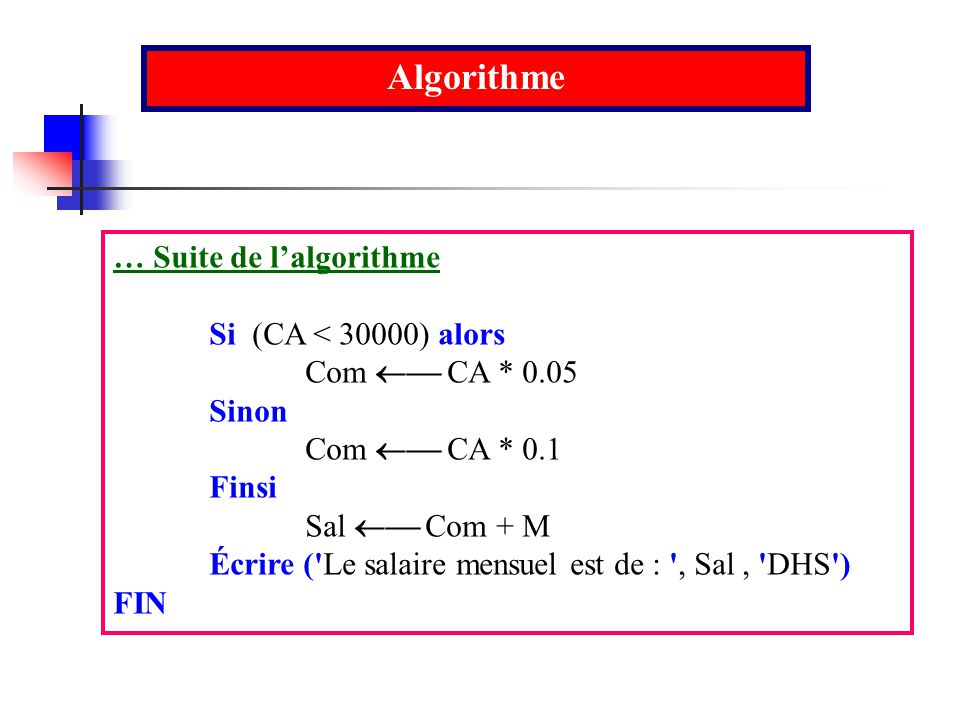 Algorithme … Suite de l'algorithme Si (CA < 30000) alors