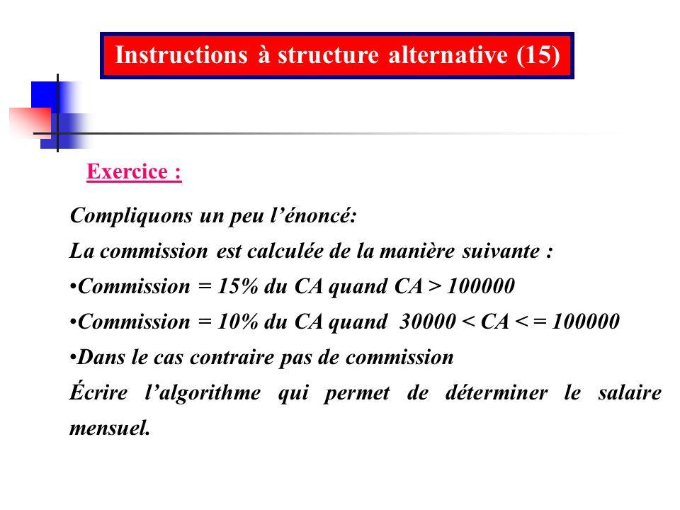 Instructions à structure alternative (15)