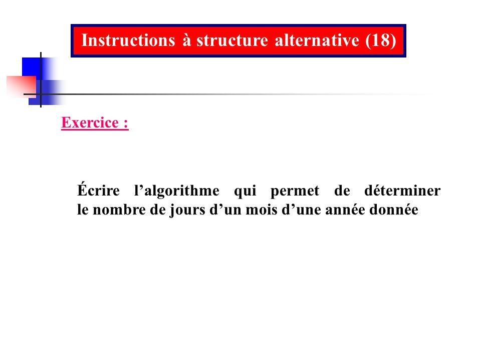 Instructions à structure alternative (18)