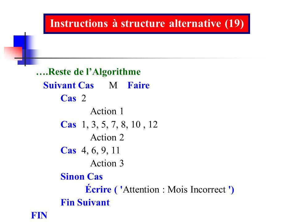 Instructions à structure alternative (19)