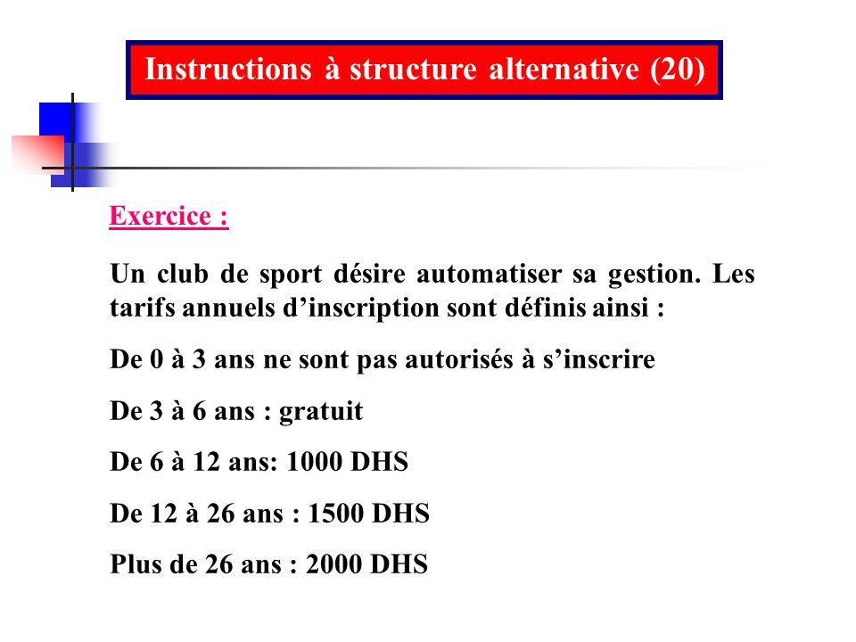Instructions à structure alternative (20)