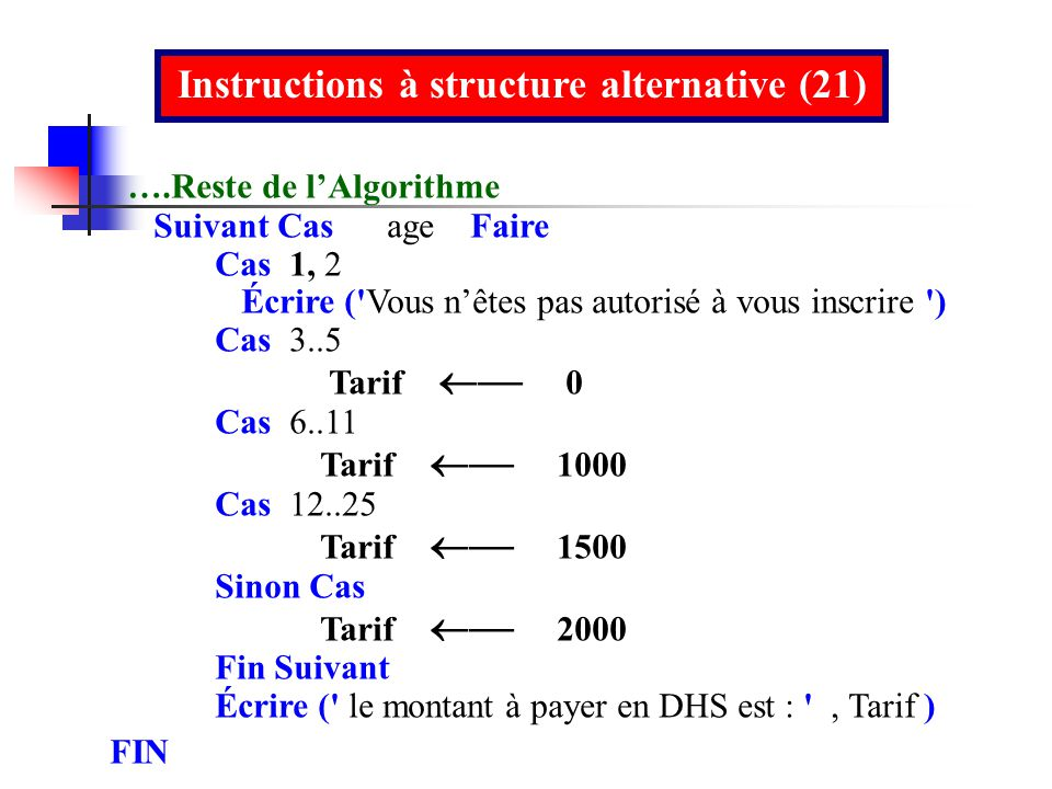 Instructions à structure alternative (21)