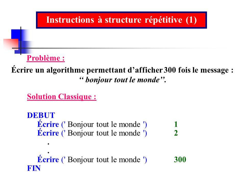Instructions à structure répétitive (1)